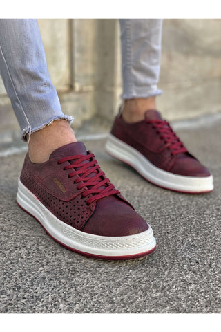 Image of Men's Lace-up Claret Red Shoes