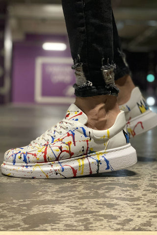 Men's Printed White Sport Shoes