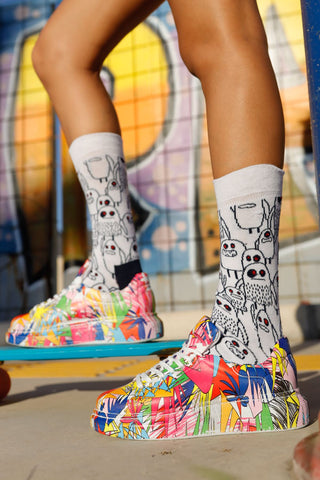 Image of Women's Lace-up Printed Multi-color Sport Shoes