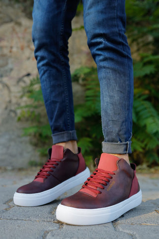 Men's Lace-up Claret Red Shoes