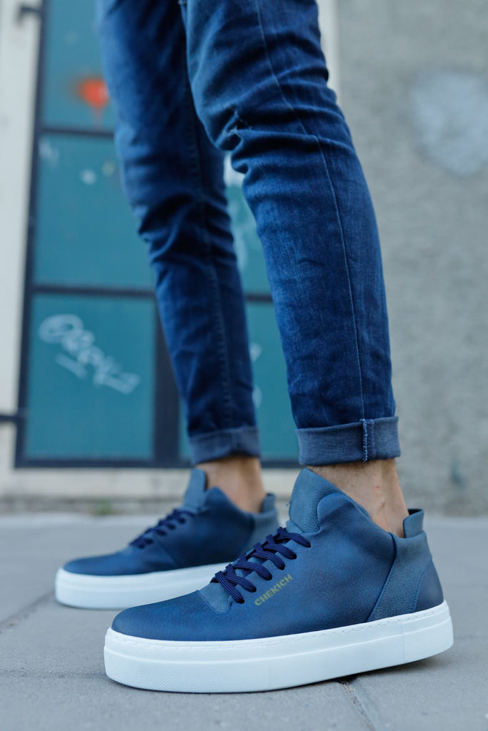 Men's Lace-up Navy Blue Shoes