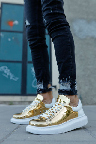 Image of Men's Lace-up Gold - White Sport Shoes