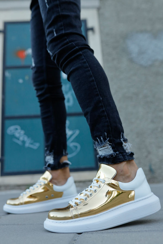 Men's Lace-up Gold - White Sport Shoes