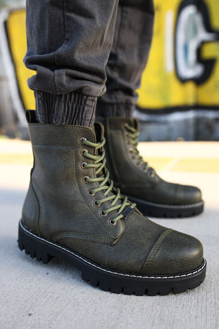 Men's Lace-up Khaki Boots