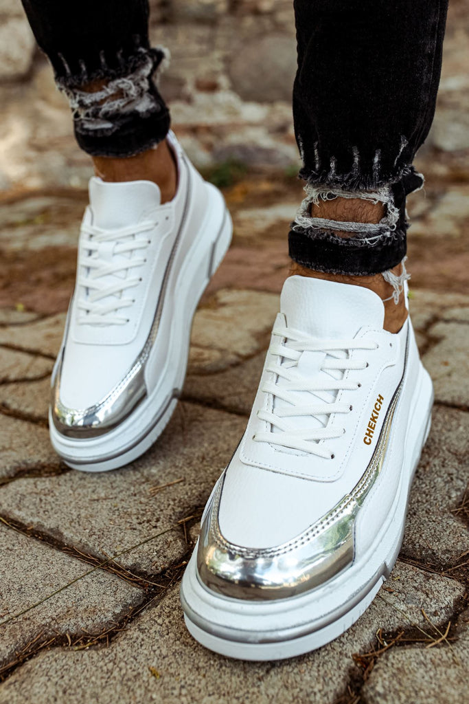 Men's Lace-up White Silver Shoes