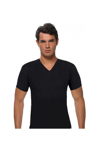 Image of Men's V Neck Short Sleeves Black Undershirt