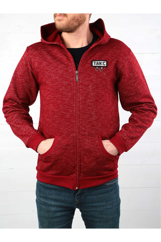 Image of Men's Hooded Zipped Claret Red Winter Jacket