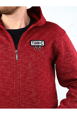 Men's Hooded Zipped Claret Red Winter Jacket