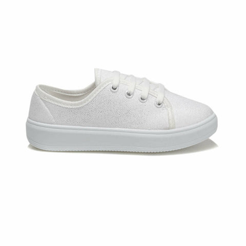 Girl's Lace-up White Shoes