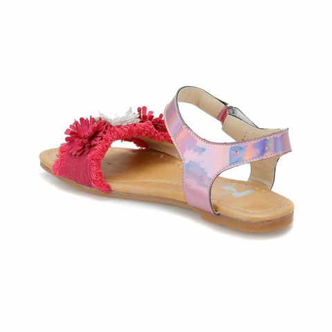 Girl's Floral Detail Fuchsia Pink Sandals