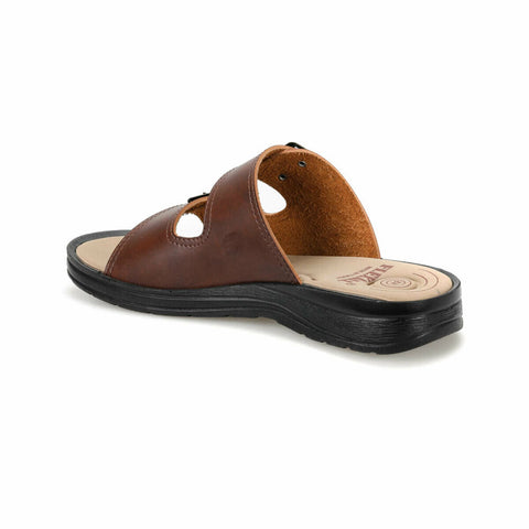 Men's Two Band Brown Slippers