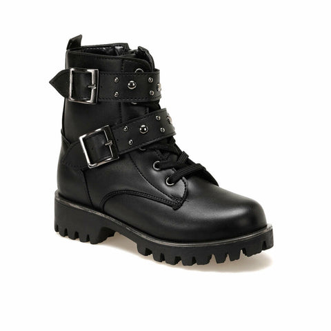 Girl's Buckle Black Boots