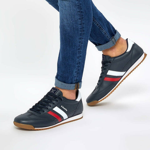 Image of Men's Lace-up Navy Blue Sneakers
