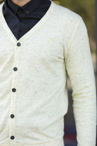 Men's Button Yellow Cardigan