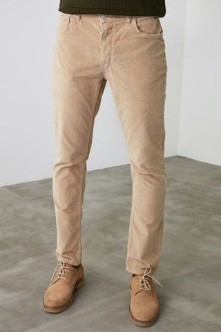 Men's Beige Denim Velvet Skinny Jeans