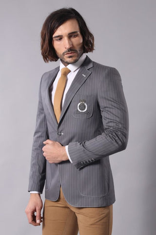 Men's Button Striped Smoky Jacket