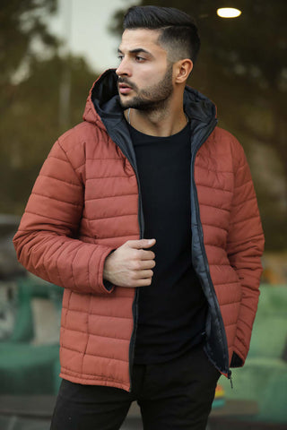 Image of Men's Hooded Tile Red Coat