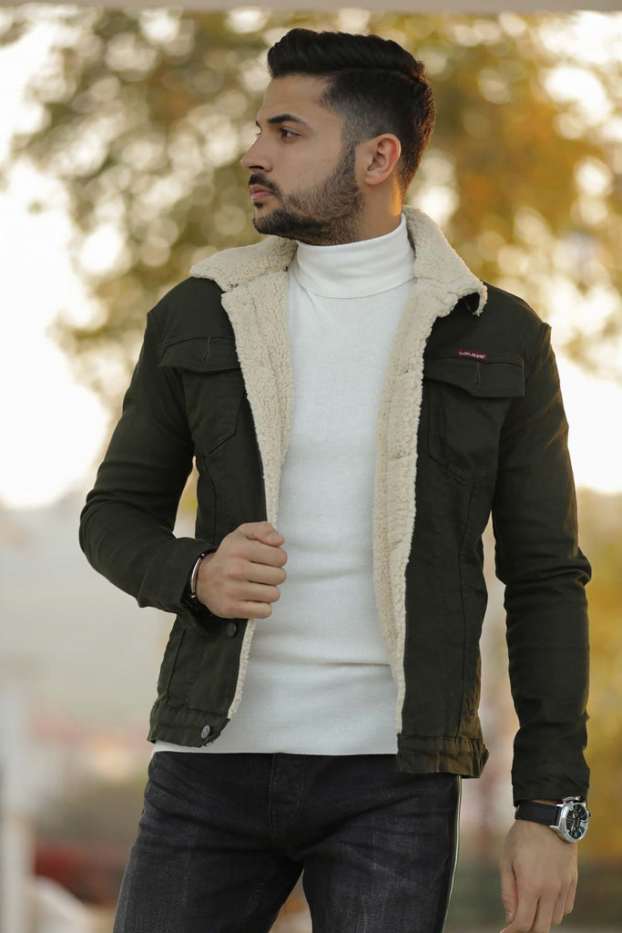 Men's Inner Furry Khaki Coat