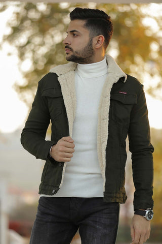 Image of Men's Inner Furry Khaki Coat