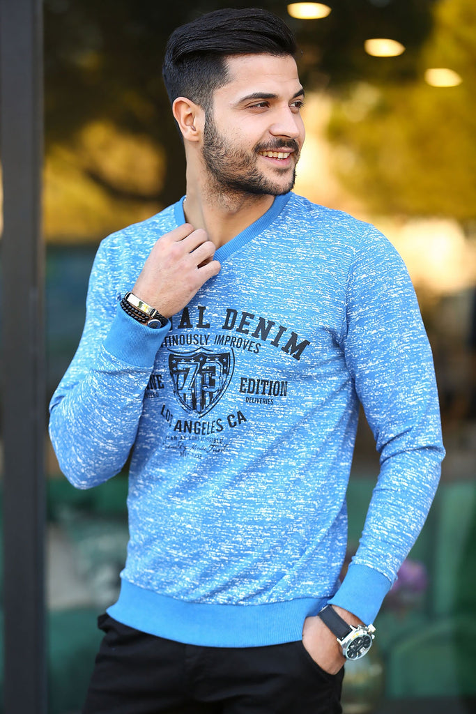 Men's Printed Indigo Sweater