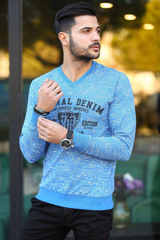Image of Men's Printed Indigo Sweater