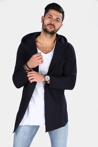 Men's Hooded Navy Blue Cardigan