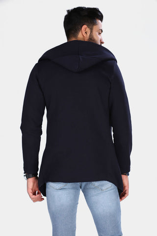Image of Men's Hooded Navy Blue Cardigan