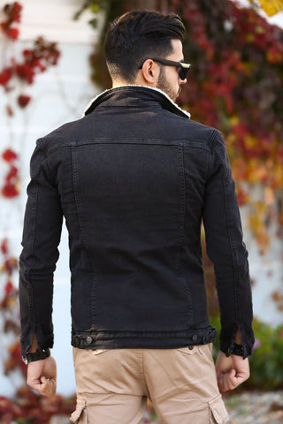 Men's Inner Furry Smoky Denim Jacket