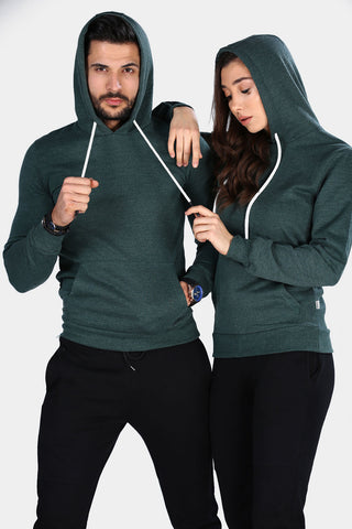 Image of Unisex Hooded Kangaroo Pocket Green Sweatshirt