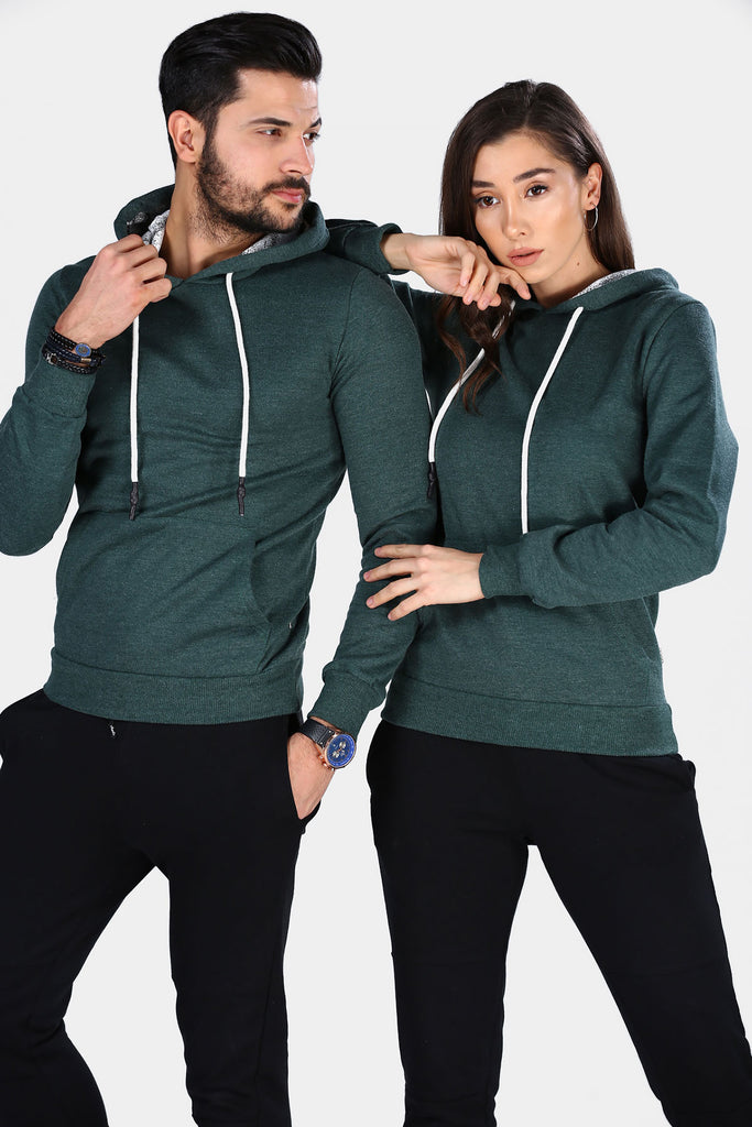 Unisex Hooded Kangaroo Pocket Green Sweatshirt