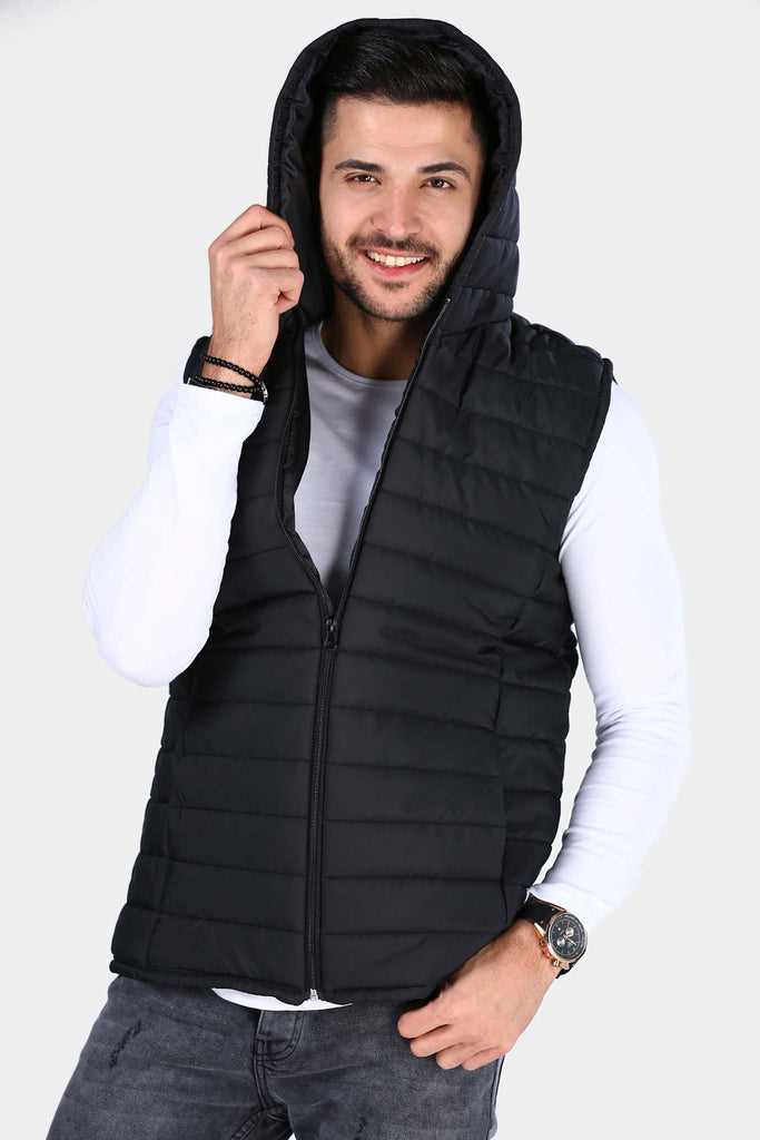 Men's Hooded Black Vest