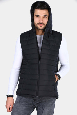 Image of Men's Hooded Black Vest