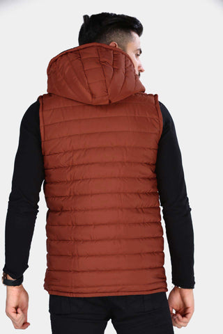 Image of Men's Hooded Zipped Lined Tile Red Vest