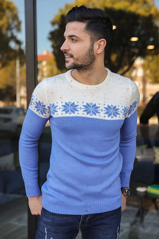 Image of Men's Patterned Blue Tricot Sweater