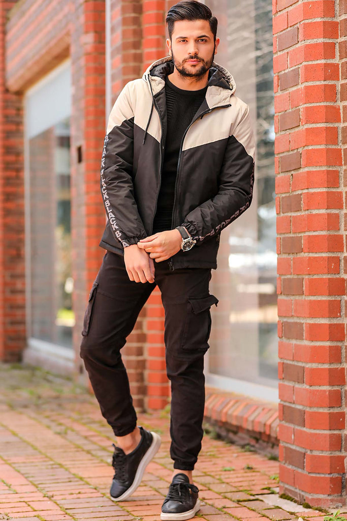 Men's Button Black Cargo Pants
