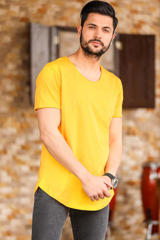 Image of Men's Crew Neck Mustard T-shirt