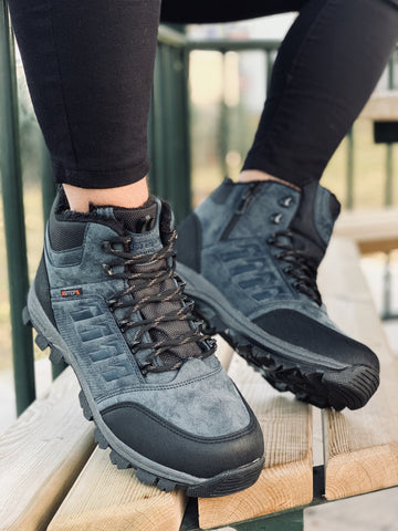 Men's Big Size Side Zipped Lace-up Semi-Cut Hiking Boots