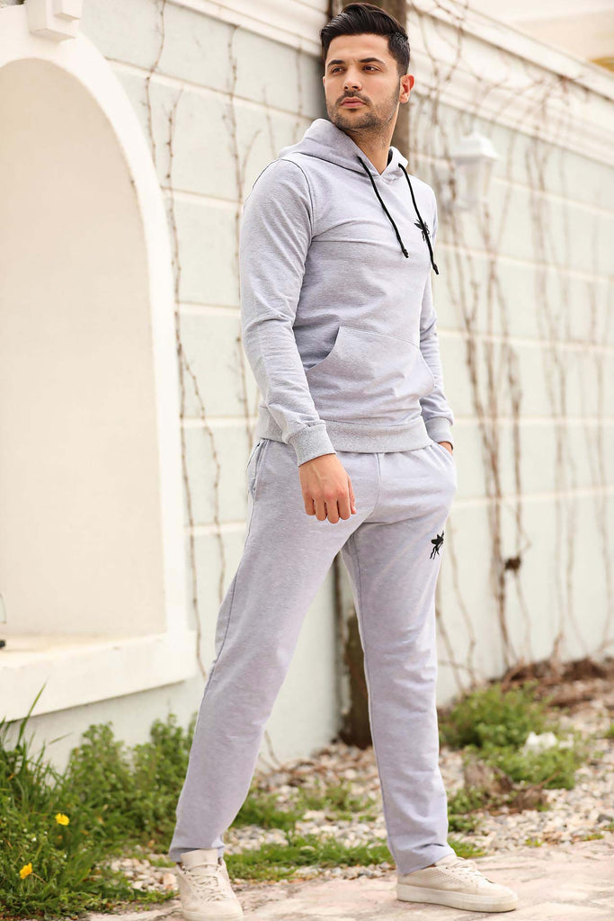 Men's Hooded Grey Sweat Suit