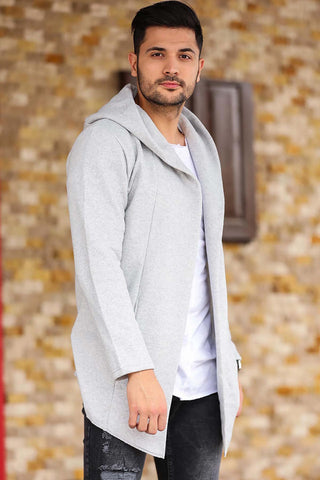 Image of Men's Hooded Grey Cardigan