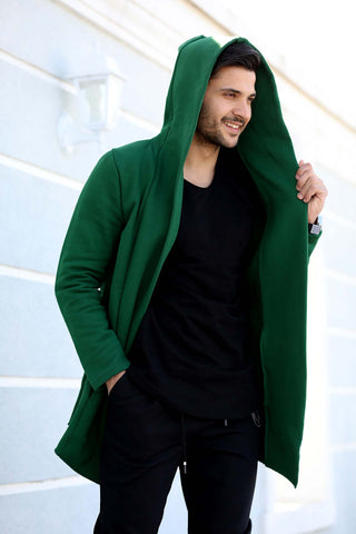 Image of Men's Hooded Green Cardigan