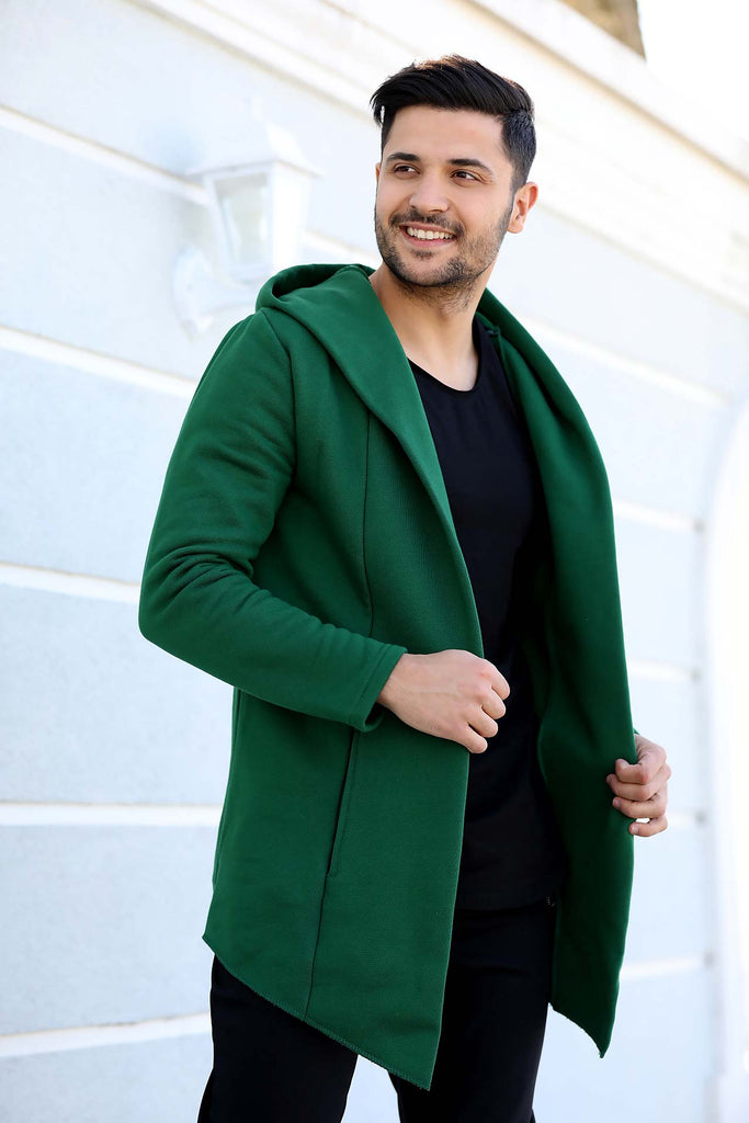 Men's Hooded Green Cardigan