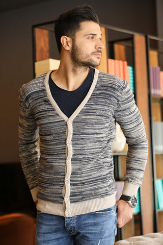 Men's Patterned Beige Cardigan