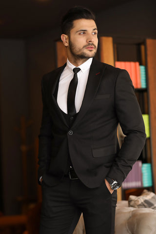 Image of Men's Black Grizzled Blazer Jacket