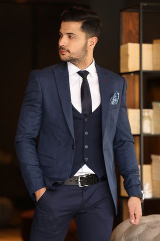 Image of Men's Navy Blue Grizzled Blazer Jacket