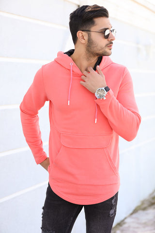 Image of Men's Hooded Kangaroo Pocket Vermilion Sweatshirt