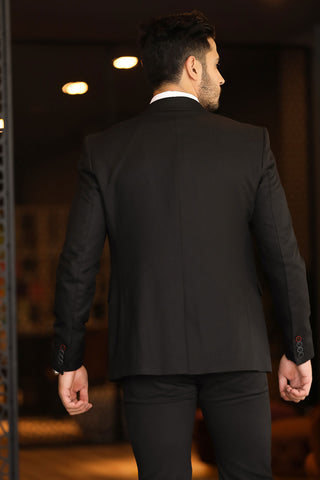 Men's Black Grizzled Blazer Jacket