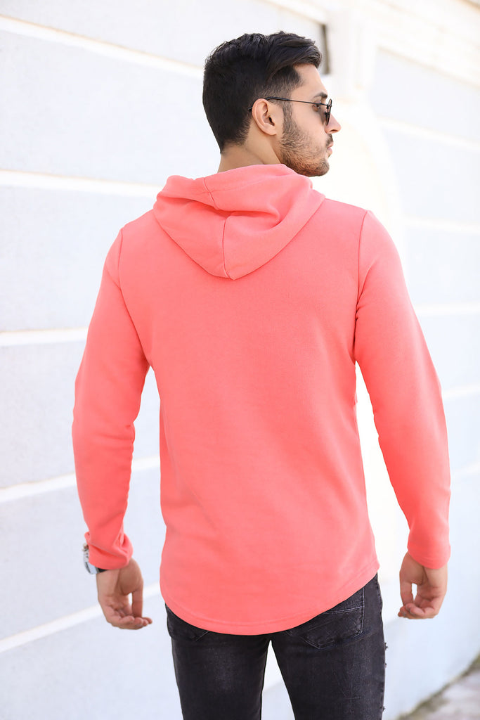 Men's Hooded Kangaroo Pocket Vermilion Sweatshirt
