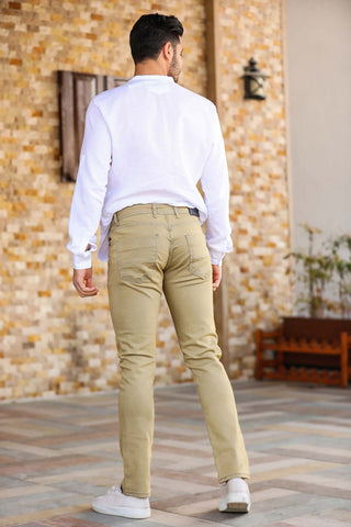 Men's Pocket Beige Jeans