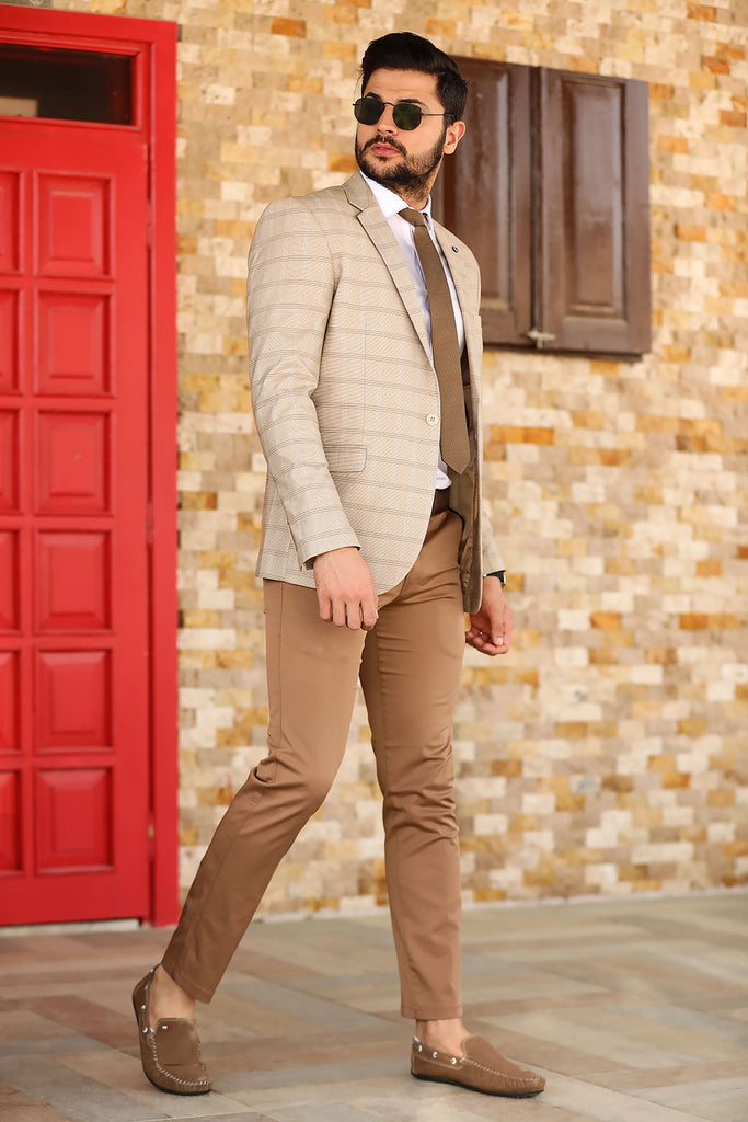 Men's Brown Fabric Pants