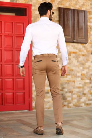 Image of Men's Brown Fabric Pants